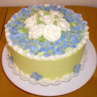 Hydragea B-Day This was a cake iced in BC (a light lime color) and BC roses. The hydrangeas were made out of gumpaste and dusted with periwinklle and...