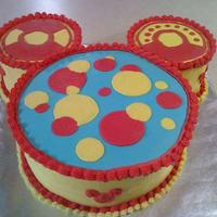 Mickey Mouse Toodles Round cakes frosted in BC to represent Toodles on Mickey Mouse clubhouse