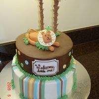 King Of The Jungle Baby shower cake that matched the partyware. Sugarshack's buttercream on bottom and Jibbies chocolate buttercream on top. Fondant...