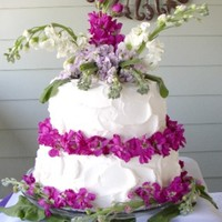 "Floral Dream Coconut Cream Cake with Bavarian Cream filling. Fresh flowers are called ""Stock"" and are wonderfully fragrant"