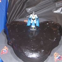 Batman Chocolate Cake with Chocolate Icing Tinted Black