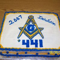 Masonic Cake My husband is a Mason and needed a cake for their installation of officers. I free handed the emblem and writing.