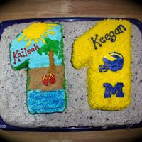 Twins' Cake Ordered for customer's 11 year old twins. Boy likes Univ. of Michigan football, girl likes beach, so this is what I came up with. The...