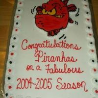 Piranhas Swim Team Cake  This is the first buttercream transfer that I've done. I've used a projector to do lots of drawings, but I don't have access...