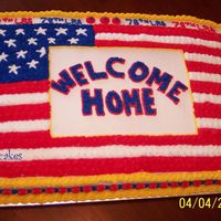 Welcome Home 12 People in my husband's shop just got back from Iraq. I made this cake for their welcome home party!!! Everyone liked it!!!
