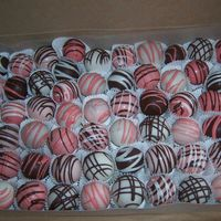 Bridal Shower Cake Balls Requested by customer to be chocolate cake (made them with Godivia Chocolate Liquor)...with wedding colors of shades of pink, black and...