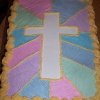 Cross Cake 1 This was done for Sunday School Teacher Appreciation Day at church. 1/2vanilla - 1/2 choc. w/ buttercream frosting. Thanks to cambo for the...