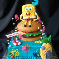 Spongebob, Crabby Patty, & Bikini Bottom I think I am done with Spongebob... I swear this little RKT dude was staring at me the whole time I was working on the cake... need to stop...