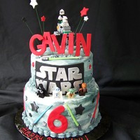 Gavin's Star Wars Cake Birthday boy is a HUGE fan. I let him add all his special Lego figurines to the cake himself... just the way he wanted them!