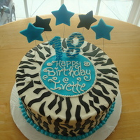 Zebra Print Cake Buttercream Icing With Fondant Decorations. The Stars Were A 1st For Me... I Would Appriciate It If Someone Could Give Me Tips On How To Do...