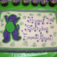 Barney   barney birthday. fbct. did a ton of cupcakes to go with birthday age -2- thanks for looking!!