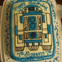 R2 D2 R2 D2 all free hand in buttercream! WOW i that was quite tedious