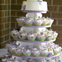 Sara's Cupcake Tower 4 types filled cakes, buttercream icing, fondant flowers,. 3 tier mini presentation cake