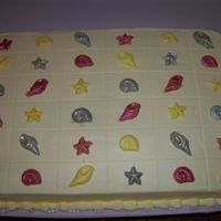 Sea Shell Sheet Cake Extra sheet cake for wedding.. shells were white chocolate painted with Luster Dust.