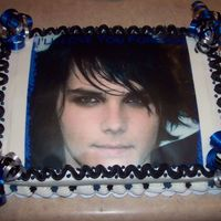 Gerard Way Cake Edible Image of Gerard Way with all buttercream decorations.