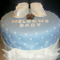 Baby Shower chocolate cake with cream cheese filling and fondant. Also with fondant booties.