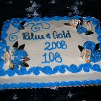 Blue & Gold Banquet   Gold foil leaves and roses dusted gold luster dust