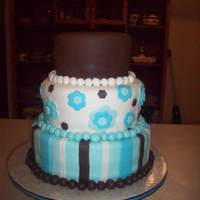 Teal, Chocolate, Ivory Bride emailed a photo of this cake, props given to whomever did it first. She wanted a ball border instead of ribbon.
