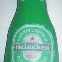 "Heineken Bottle A father's day cake carved from 4 6"" rounds. Edible images for labels. MMF and luster dust for the cap. I like this one better..."