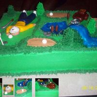 Golf Course 11x15 cake that was part of a two-cake order for a gentleman. All buttercream except for fondant figures. Very time consuming, but fun.