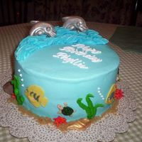 Dolphin Cake   The cake is iced in buttercream. Dolphins/shells are choc. The fish I cut out of fondant. Becky Thanks for looking.