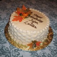 Fall Birthday I wanted to try a fall cake. I have a wedding cake to do for a good friend in Oct and had made the leaves, pumkins, acorns out of fondant....