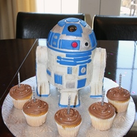 R2D2 This is an R2D2 cake that I made for a five year old's birthday. I wish they had let me use fondant, but I impressed myself with the...