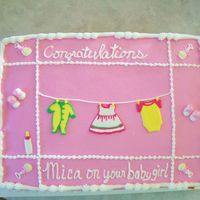 Baby Shower For Girl Buttercream with royal icing decorations. THanks for looking