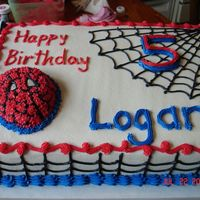 Spiderman Birthday   This is all done in buttercream frosting. Spiderman's head is made of cake from the Spiderman mold.