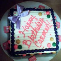 "Gift Birthday Cake No wax paper so the cake ""sweated"" a bit :)"