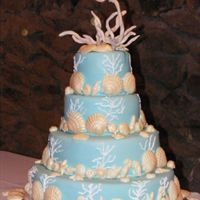 Hawaiian Delight 4 tiers covered in Pool Blue Fondant, piped coral on sides of cake, white chocolate sea shells, dusted with a sand color petal dust, and...