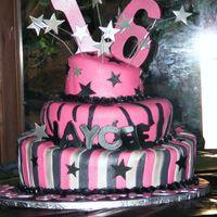 Sweet 16 Sweet 16 Birthday whimical 3 tier colors are hot pink, black and silver. Shooting Stars are made from gumpaste as well at the 16 airbrushed...