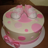 "All Star Converse Shoes Baby Shower Cake 9"" cake done in buttercream with fondant dots and bow. shoes were made using the instructions i found on this site. very easy to do..."