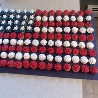 4Th Of July Flag Cupcakes Made mini cupcakes... Then arranged them like a flag.. Everyone loved them.