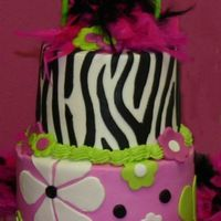 Zebra Retro Birthday Cake Two tier cake made for my daughter's 5th birthday. Cakes are covered in buttercream and accents are fondant. I used the buttercream...