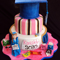 Kassidy's Graduation Cake This is For a wonderful young lady who is into Musicals, Hot Pink, Shopping and Fun. She is graduating from St. Josephs and going on to TLU...