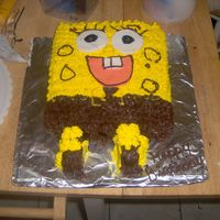 Sponge Bob Birthday This was for my son. Chocolate cake covered in buttercream to look like the character.