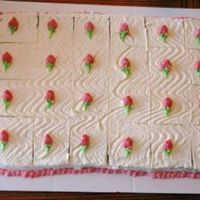 Mini Rosebuds   Bridal shower 1/4 sheet - whipped topping w/BC mini rosebuds
