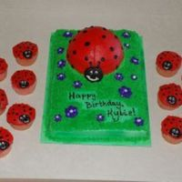 Ladybug Cake And Cupcakes Half of the Wilton's sports ball pan for the big ladybug. She was removable for the birthday girl to have a smash cake. Sprayed the 13...