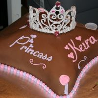 Chocolate Pillow Cake RI tiara, chocolate fondant, buttercream decorations.