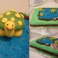 187.jpg 9x13 butter cake with butter cream icing and fondant turtles
