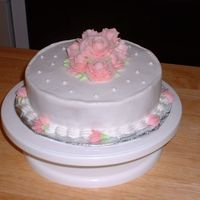 Wilton I-Last Cake Here is my last class cake for Wilton I. I have this funky ledge thing going on on the top. I think it is because I have crumb phobia and...