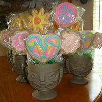 First Cookie Bouquet these are my first bouquets. I made them for my son's teachers. No fail sugar cookies with Alice's cookie icing.