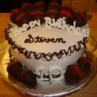 "Steven's Birthday Chocolate cake with buttercream. Thanks to WenyVA for the idea from ""Darrells Birthday"". I wasn' brave enough to try and get..."