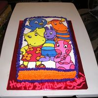 The Backyardigans Birthday Cake This for my neighbor's granddaughter's birthday party tomorrow. FBCT.