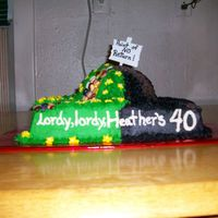 "40Th Birthday Cake This is for my sister's 40th suprise birthday party today. I was told to make it blask and ""Lordy, lordy, look who's 40!&..."