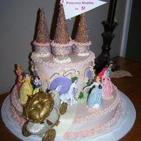 Princess Maddie Is 5 Buttercream, fondant path with figurines.