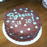 Rebecca Is 10! Marble cake, fudge icing with candy melt script.