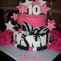 "Grace's 10Th Birthday I copied this design from the ""Cake Boss"". Mine is fondant with sugar cookies for the numbers and stars."