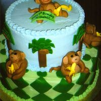 Monkey Cake Buttercream icing with fondant accents, monkeys made of fondant wtih food writer faces.